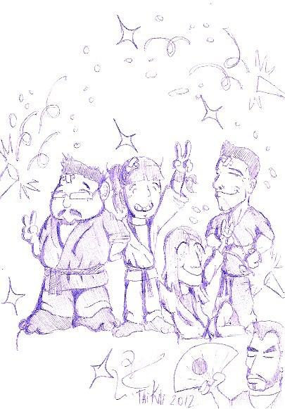 Caricatura de los 4 nuevos Shidoshi del dojo Uma Ryu (octubre 2012)