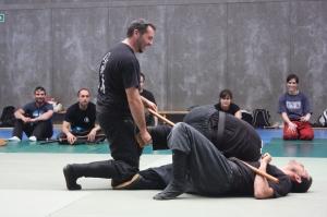 El Shihan Pero Zapatero ejecutando una técnica de Bo contra varios adversarios